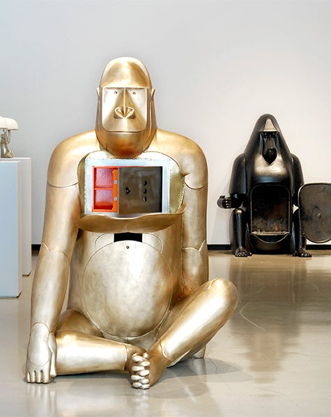 Only Francois-Xavier could imagine a bronze gorilla as a safe, and his baboon cousin as a cast-iron fireplace, both part of an edition of eight at Paul Kasmin.