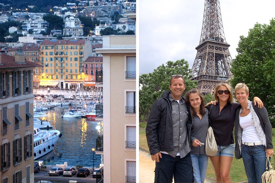 Left: The view of the port of Nice, as seen from the Fray's pied-a-terre; Right: A family vacation