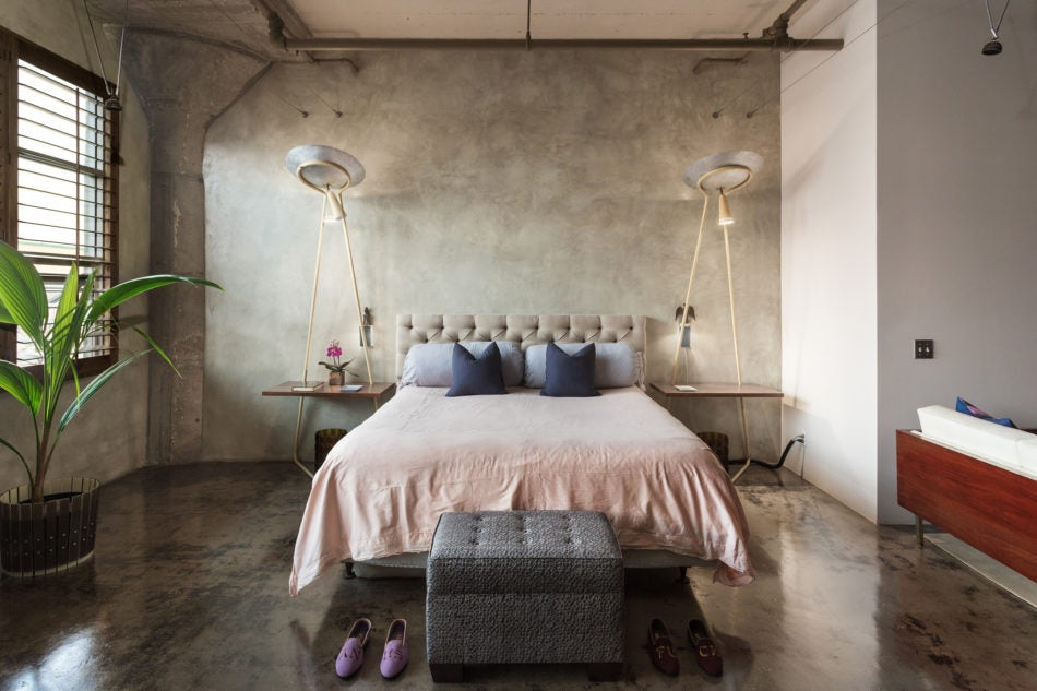 Bedroom in the Los Angeles loft of Micah Heimlich, principal of Unheim