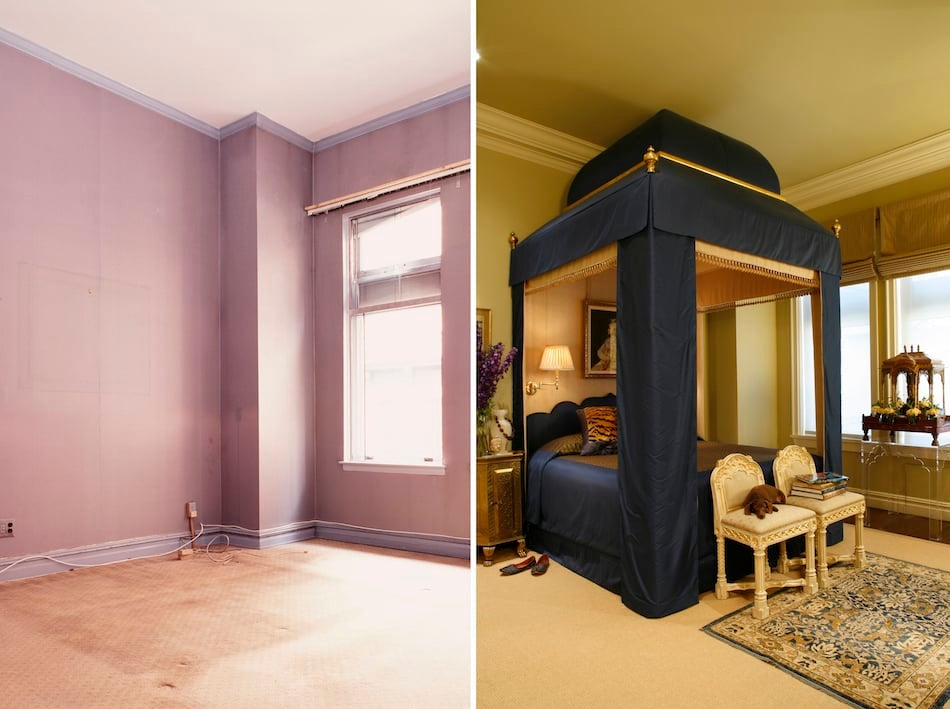 blue bedroom before and after by White Webb