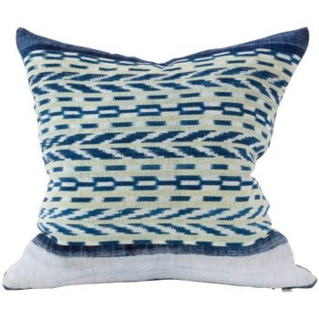 blue patterned throw pillow