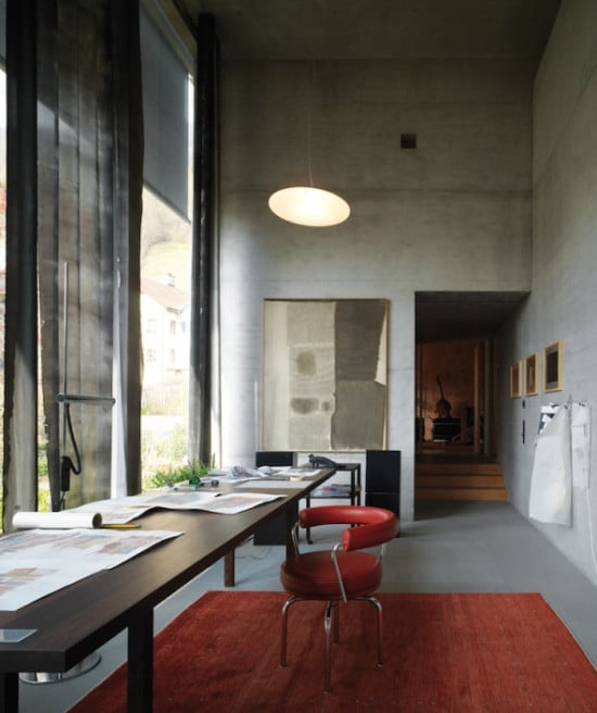 architect home office. At His Hildenstein, Switzerland Home, Pritzker Prize-winning Architect Peter Zumthor Keeps An Office That Reflects So-called \u201cBrutalist Lite\u201d Home