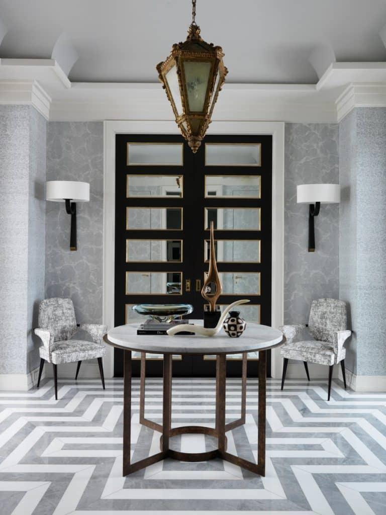 Striped marble floor in a Manhattan apartment designed by Jean-Louis Deniot