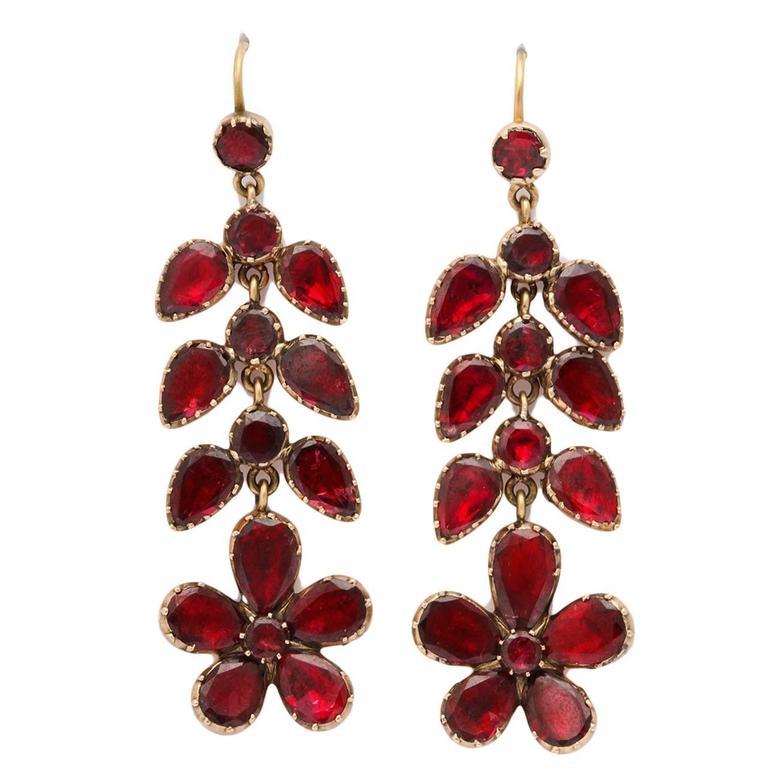Garnet Chandelier Earrings