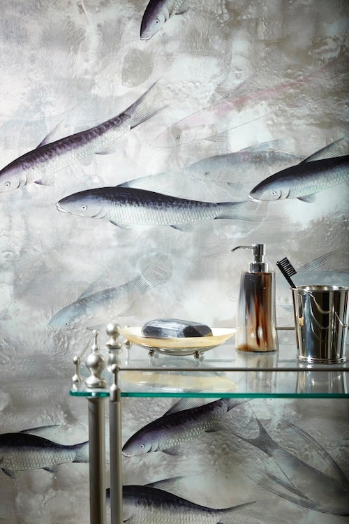 In The Bathroom Is A De Gournay Fish Pattern On Tarnished Silver Gilt Paper Photo By Natalie Dinham
