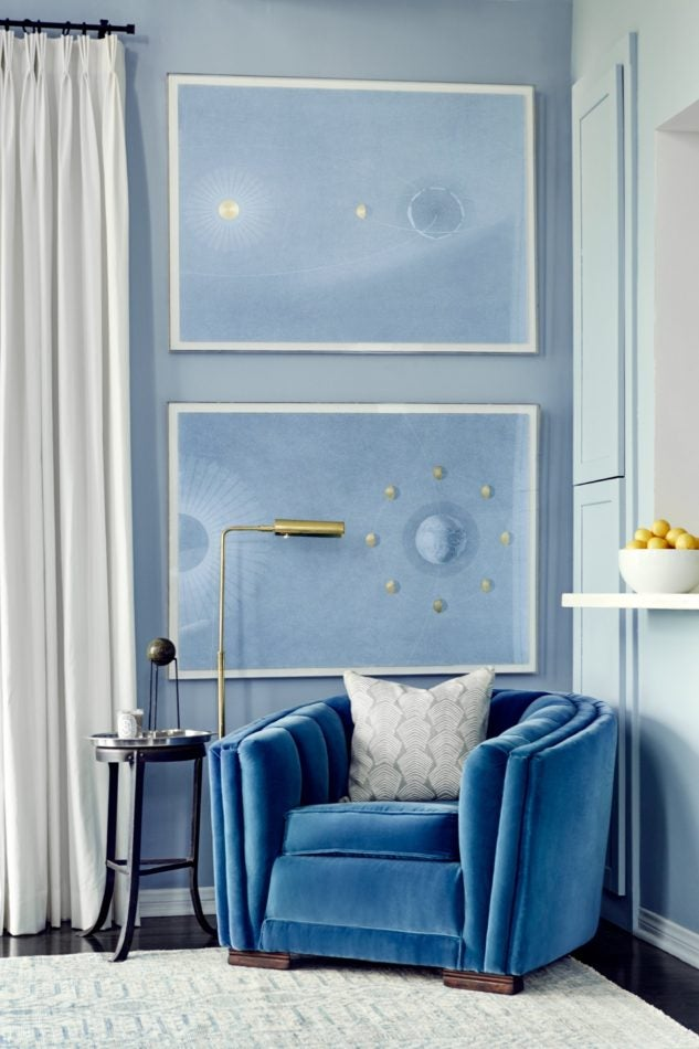 blue and white living room by Consort