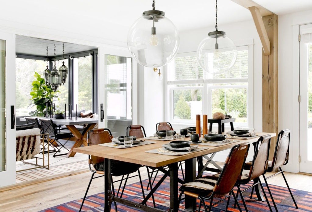 For this Sag Harbor New York dining room Timothy Godbold chose Charlotte Perriand Les Arcs chairs to surround the reclaimed oak table which is topped ... & 17 Industrial-Style Interiors | The Study