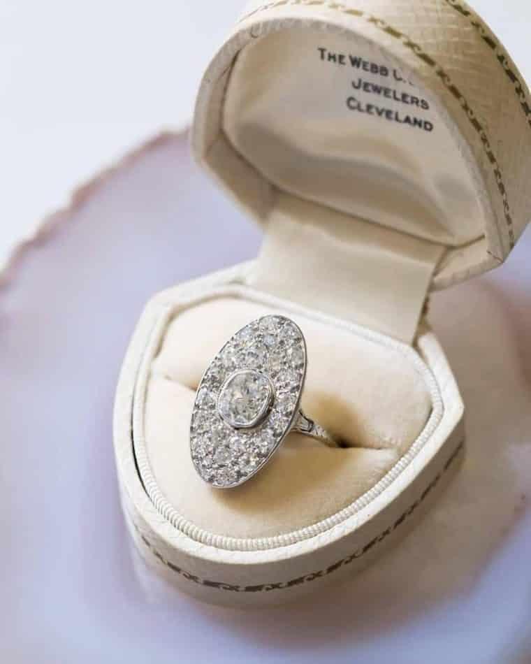Art Deco Diamond Platinum Navette Ring from Trumpet & Horn