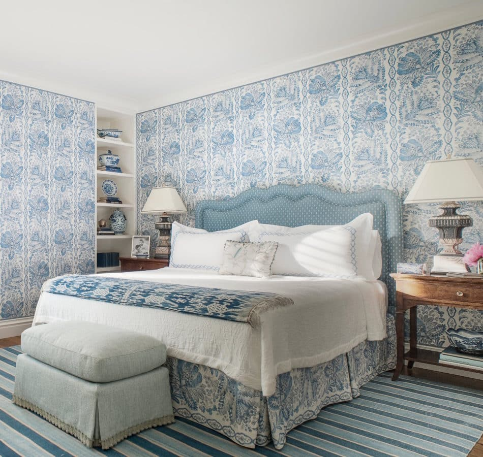 blue and white bedroom by Tucker & Marks