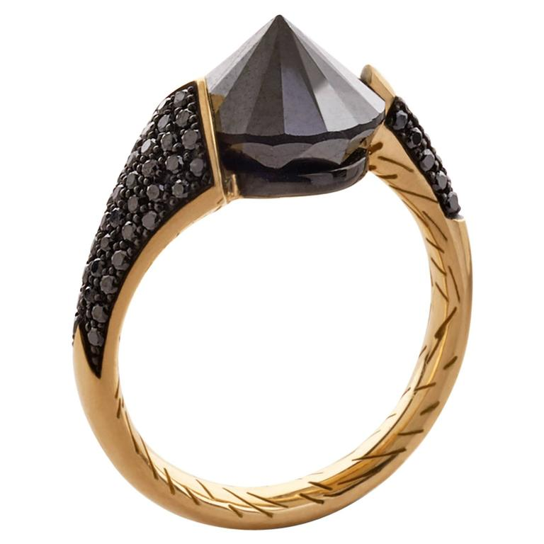 Bear Brooksbank black diamond and gold Bear Claw ring