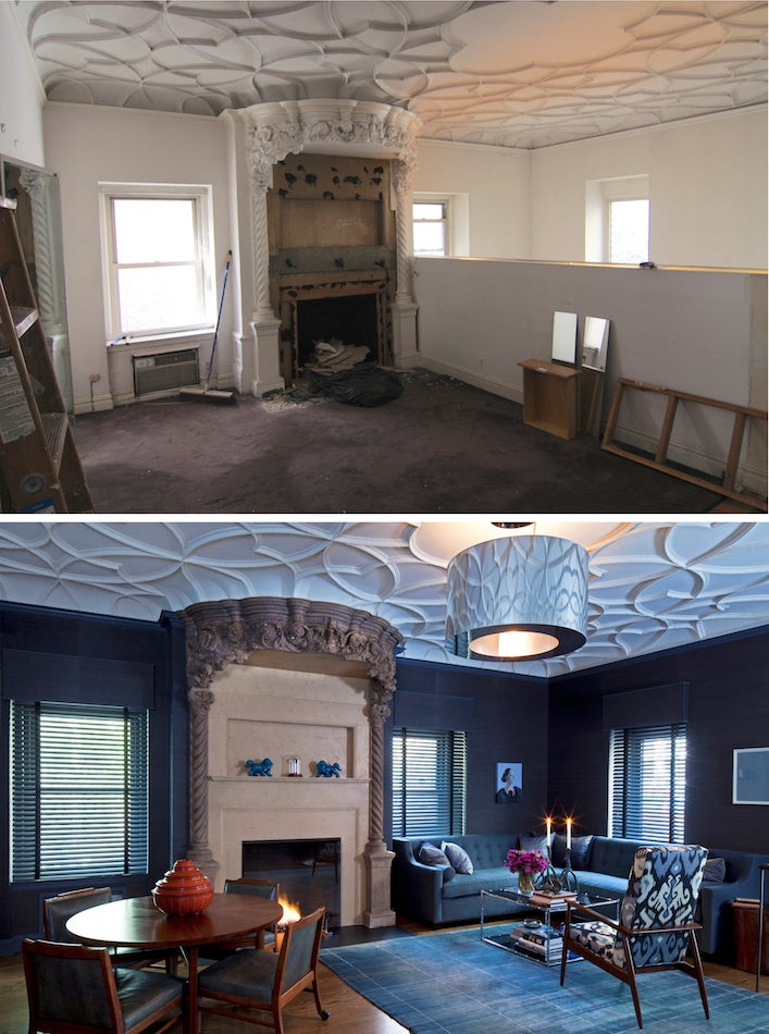 before and after living room by White Webb