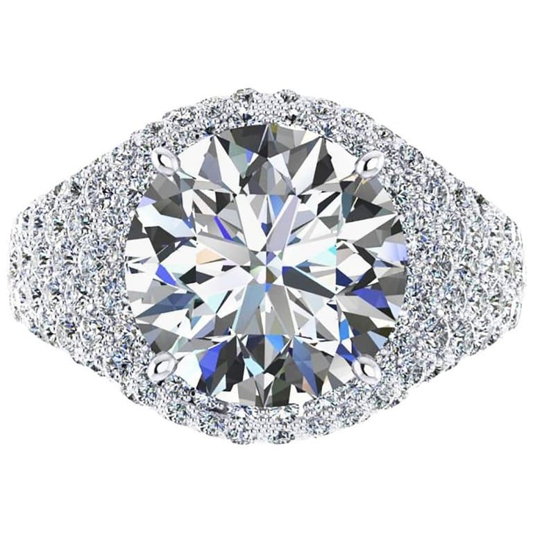 Ferrucci, GIA Certfied 5.02 Carats, Round Cut, E Color IF Clarity