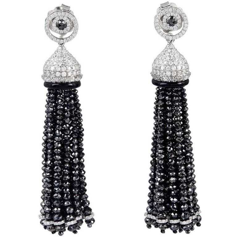black and white diamond tassel earrings
