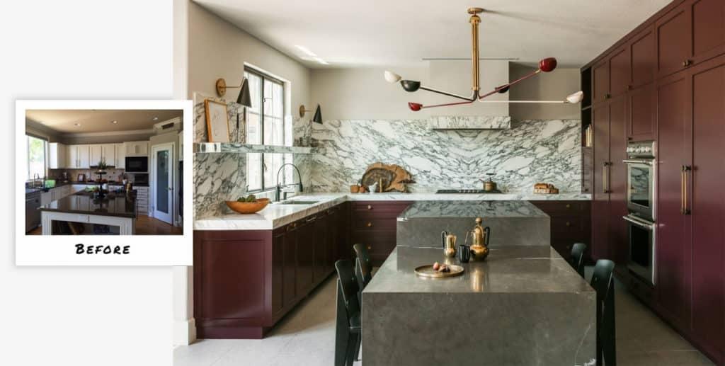 Bold Orange County kitchen metamorphosis by Studio Hus.