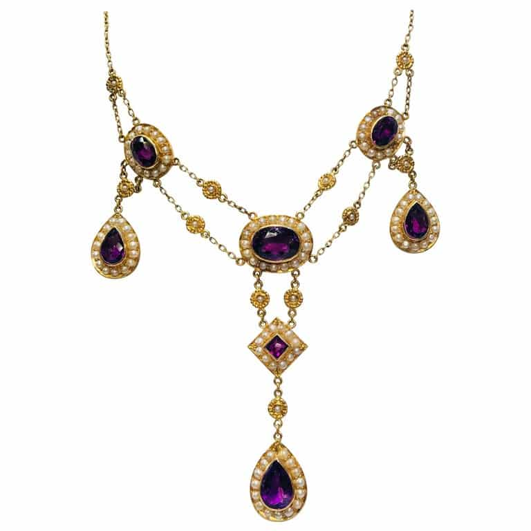Siberian Amethyst Pearl Yellow Gold Chandelier Necklace