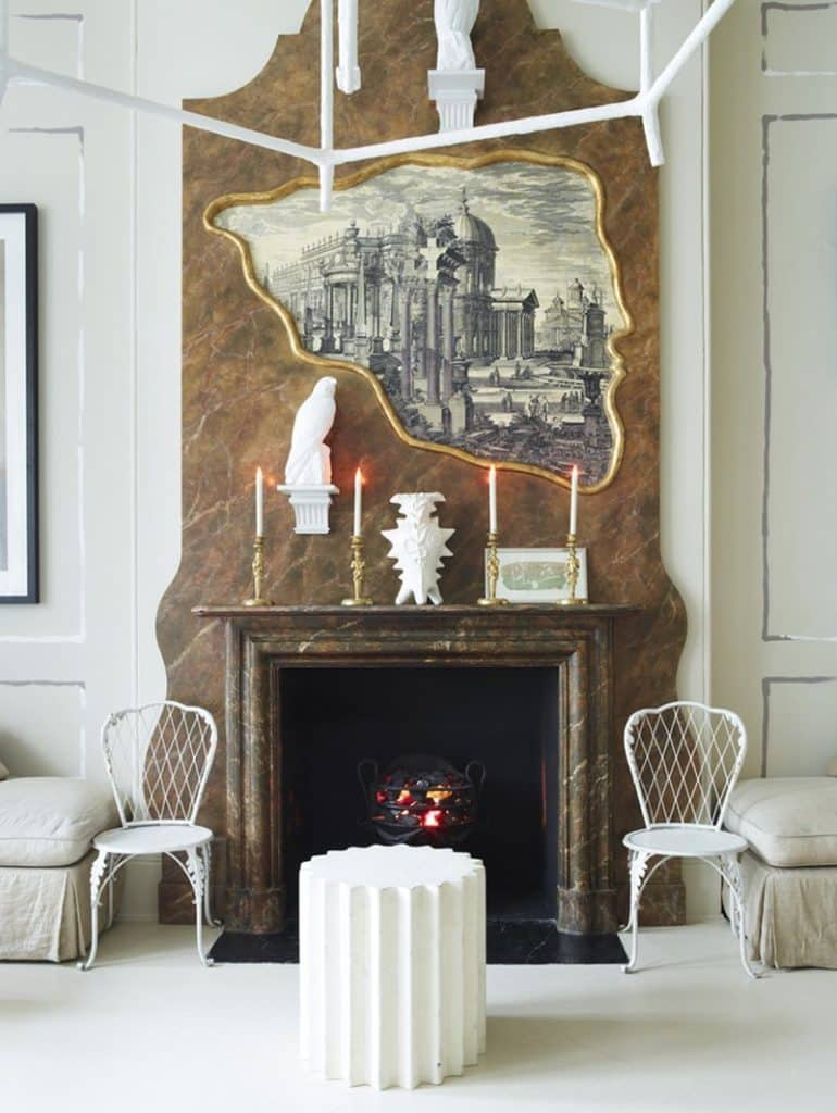 living room fireplace by Nicky Haslam