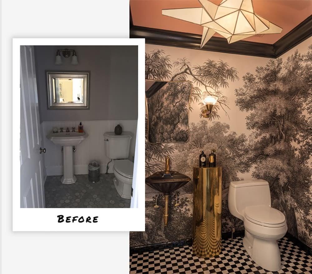 Old-world East Hampton powder room makeover by Studio Hus.