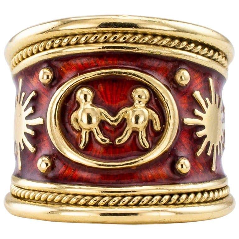 Elizabeth Gage enamel and gold gemini cigar band ring