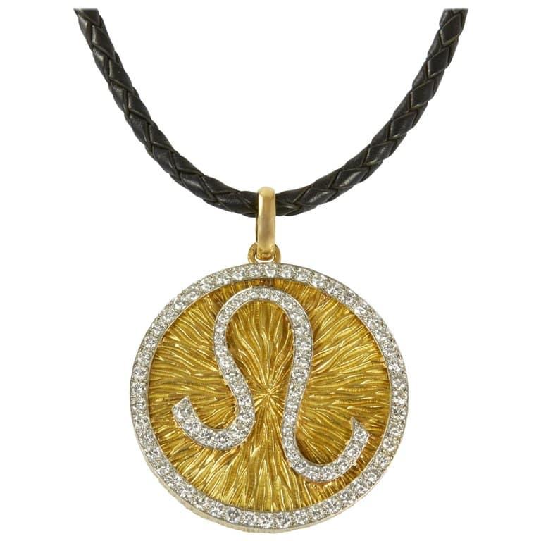 David Webb diamond, gold and platinum leo pendant, 1960s