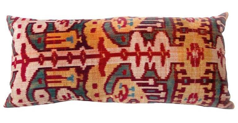 Velvet ikat remnant pillow, ca. 1890