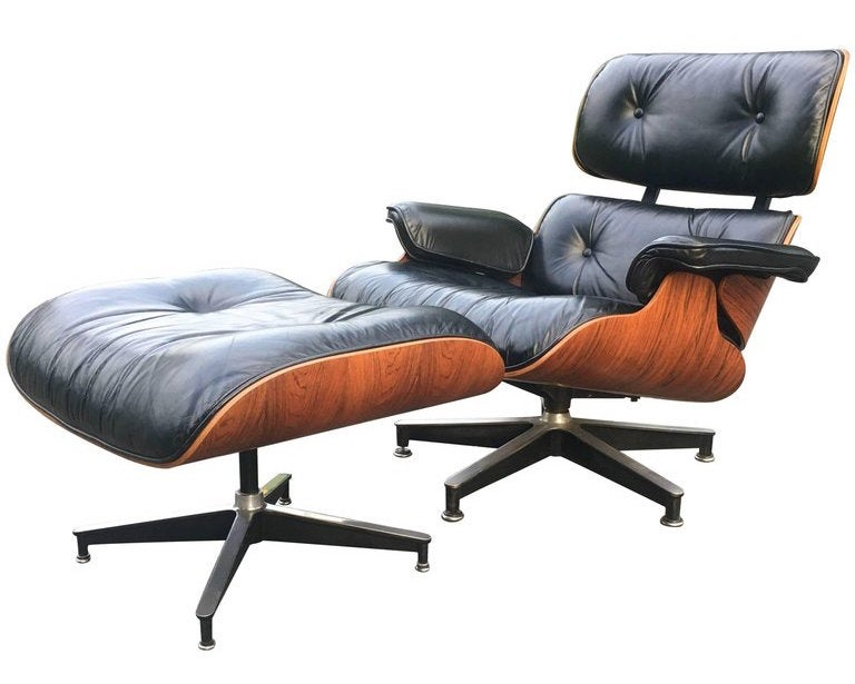 Charmant Black Leather Armchair And Ottoman
