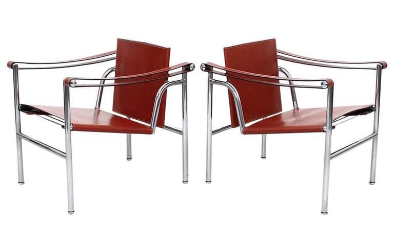 leather and chrome armchairs