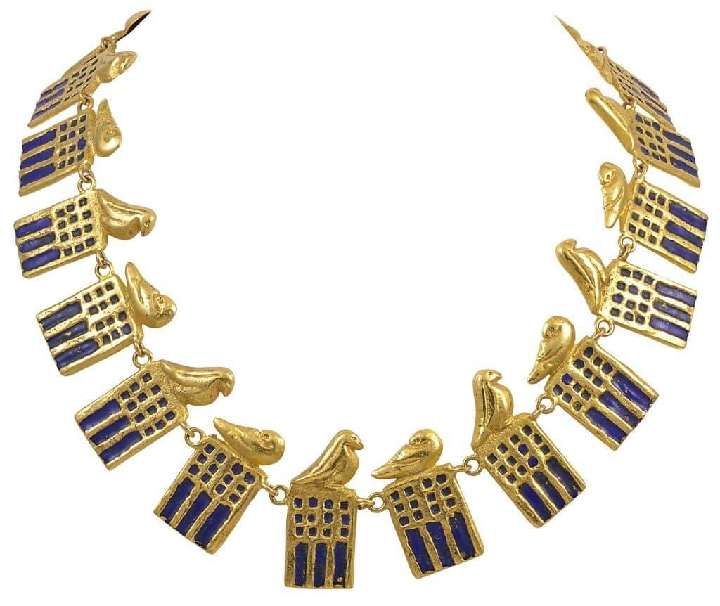 Line Vautrin gilt-bronze and enamel Ramsès necklace, ca. 1945
