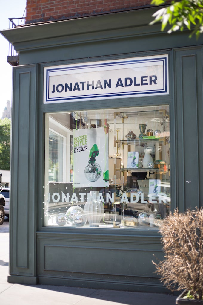Simon Doonan's Soccer Style window display for the Jonathan Adler store at 37 Greenwich Avenue in New York