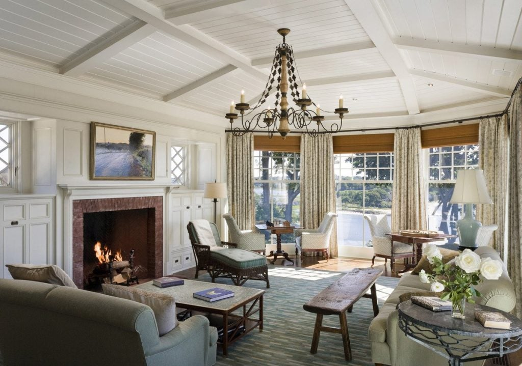 living room fireplace by Robert A.M. Stern Architects