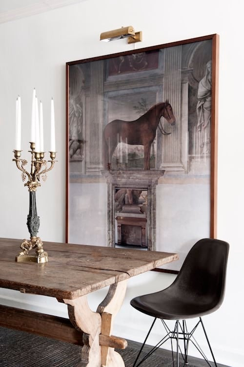 In Liza Laserowu0027s New York Dining Room, An Eames Chair Keeps Eclectic  Company With A Rustic Trestle Table, An Ornate Candelabrum And Contemporary  Art By Åke ...