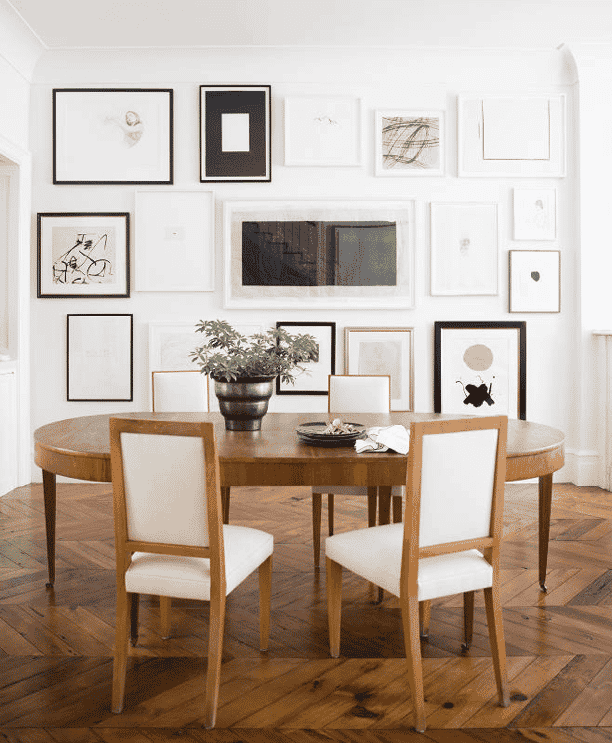 Ali-Cayne-NYC-townhouse-home-Greenwich-Village-dining-room-gallery-wall
