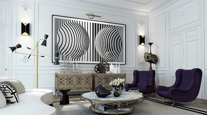 The Israeli design firm Ando Studio mixed French Modern  Op Art and Industrial pieces for this eclectic yet elegant St Germain sitting room Parisian Interior Design 16 Images of Chic Paris Apartments Style