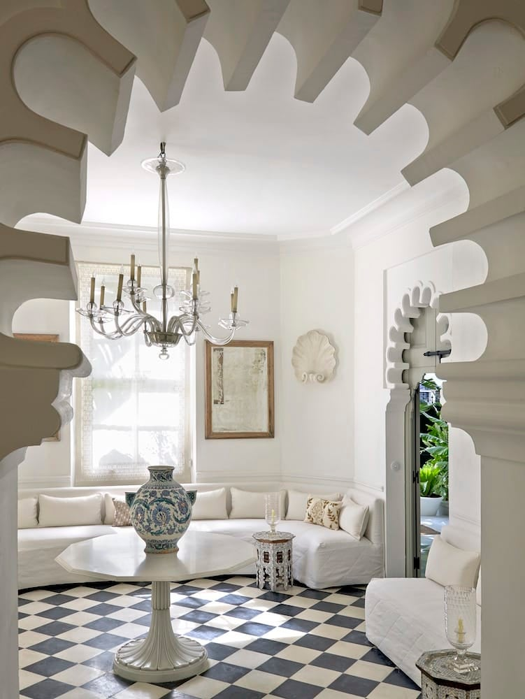 moroccan interiors. At this Studio KO designed home in Tangier  Morocco a vintage 1940s Murano glass chandelier hangs above table from India topped by Turkish 12 Mesmerizing Moroccan Style Interiors The Study