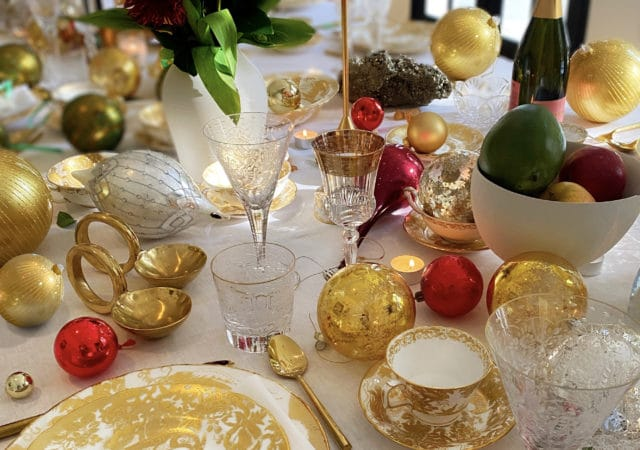 featured image for post: Holiday at Home: Brigette Romanek Sets a Golden Tablescape in Los Angeles