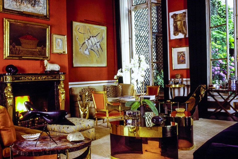 red living room by Henri Samuel