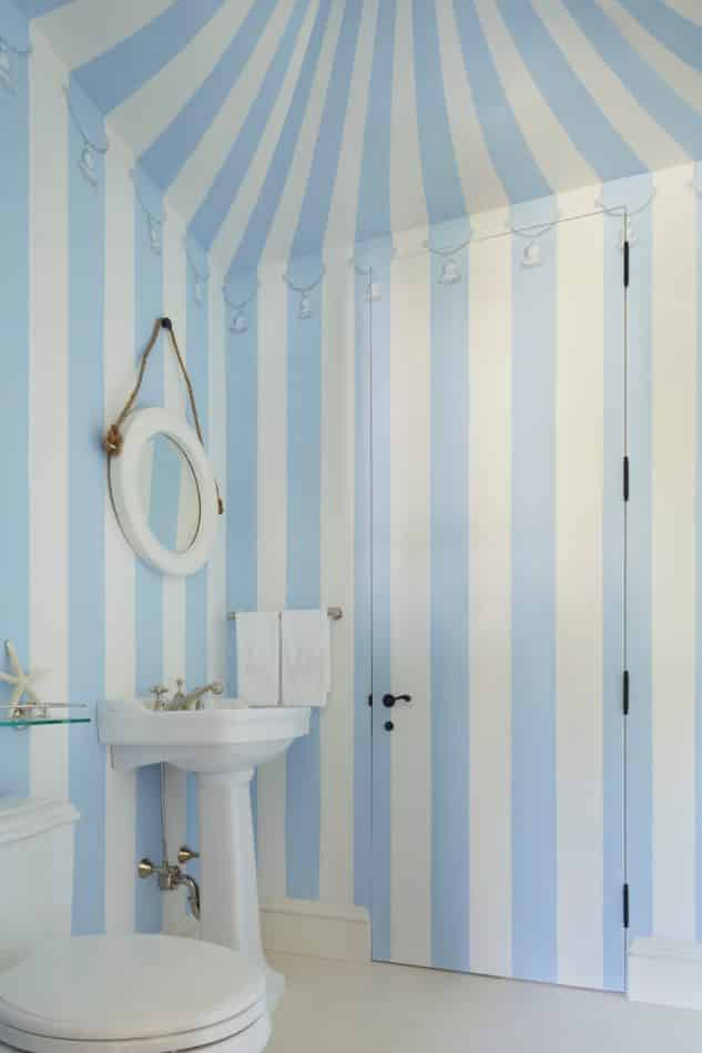 blue and white bathroom by Kemble Interiors