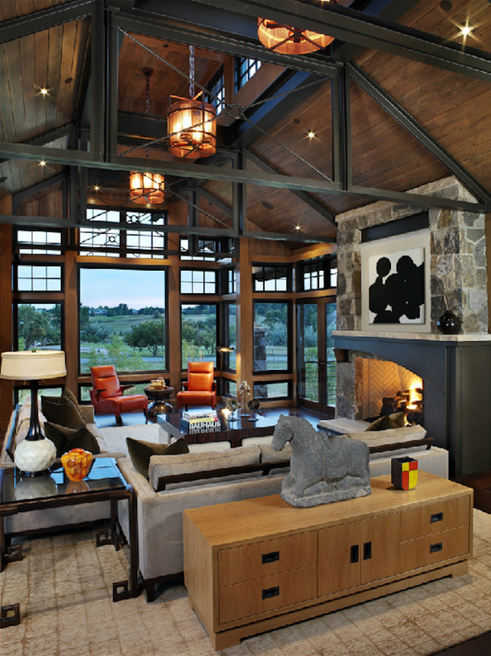 living room fireplace by Comstock Design