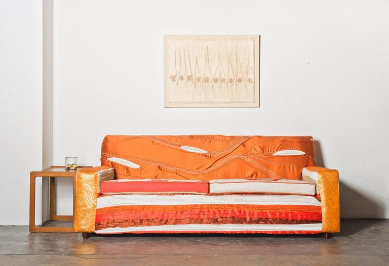 Maki Yamamoto and Melissa Dougherty collaborated on the Saidai sofa using a variety of fabric manipulation techniques on a 1960s frame.