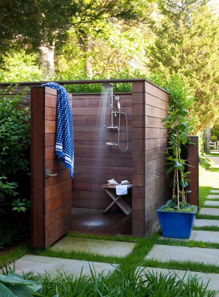 Sag Harbor outdoor shower by Foley and Cox