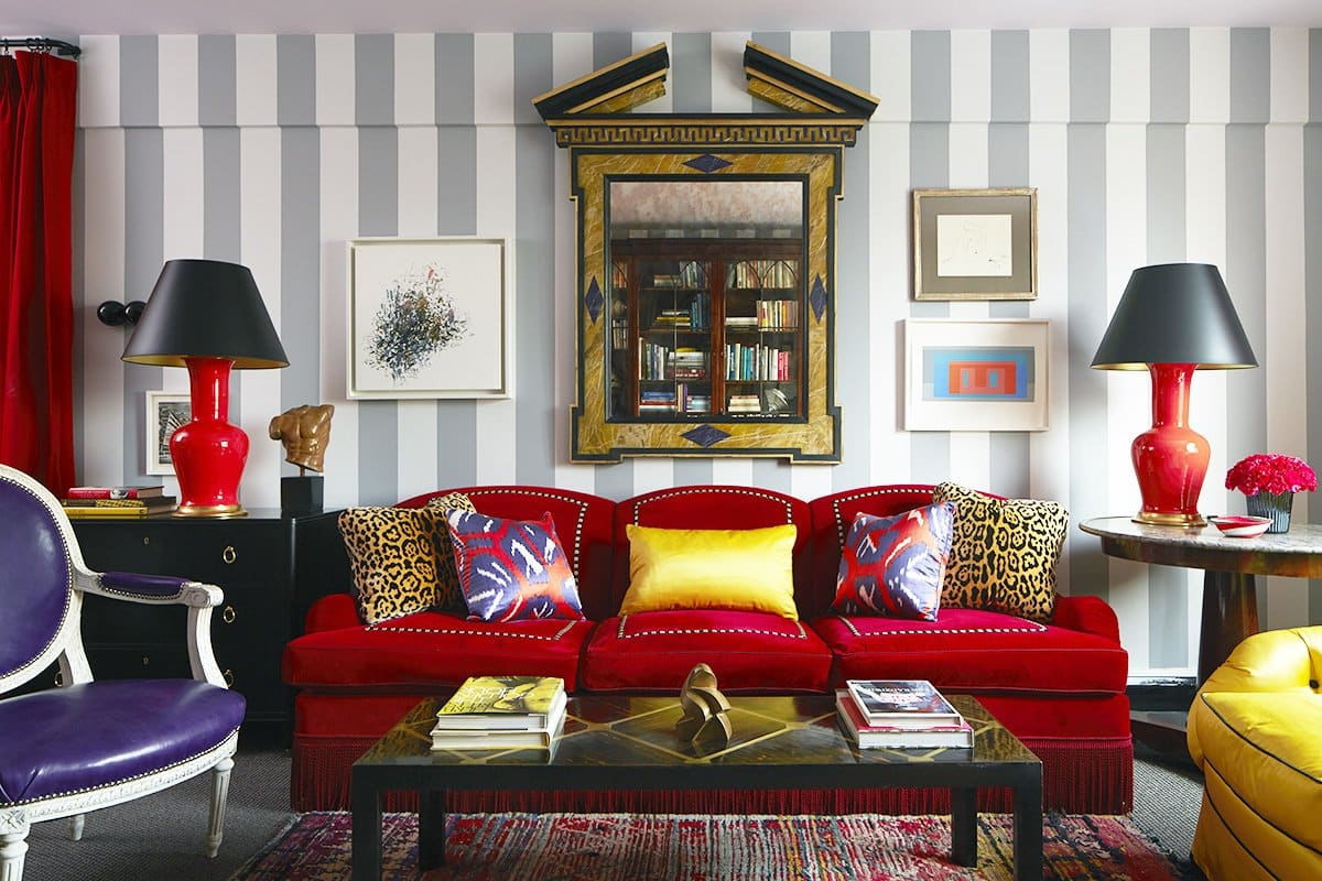 A Ruby Red Velvet Sofa Dominates This West Village, New York, Living Room  By Nick Olsen. Photo By Maura McEvoy