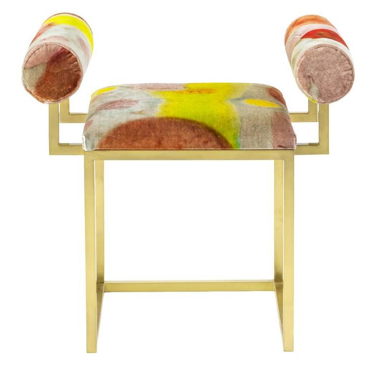 Awaiting, H Stool Printed Velvet and Brass by Coralla Maiuri and Giorgia Zanellato