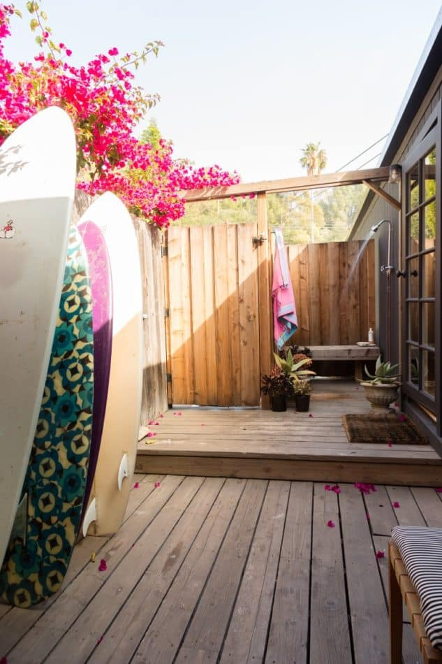 Malibu porch shower by Reath Design. Surf's up!