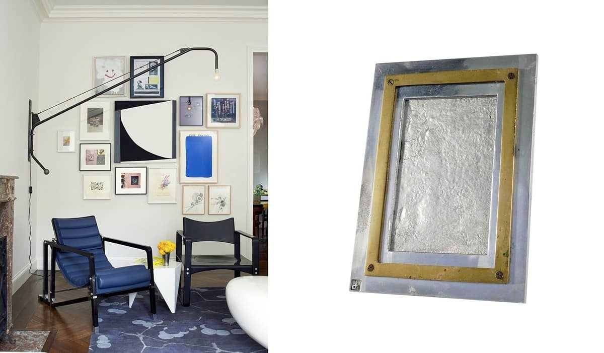 Left: An eclectic gallery wall personalizes this New York living room by Fawn Galli. Photo by Costas Picadas. Right: David Marshall photo frame in bras and metal, 1970s