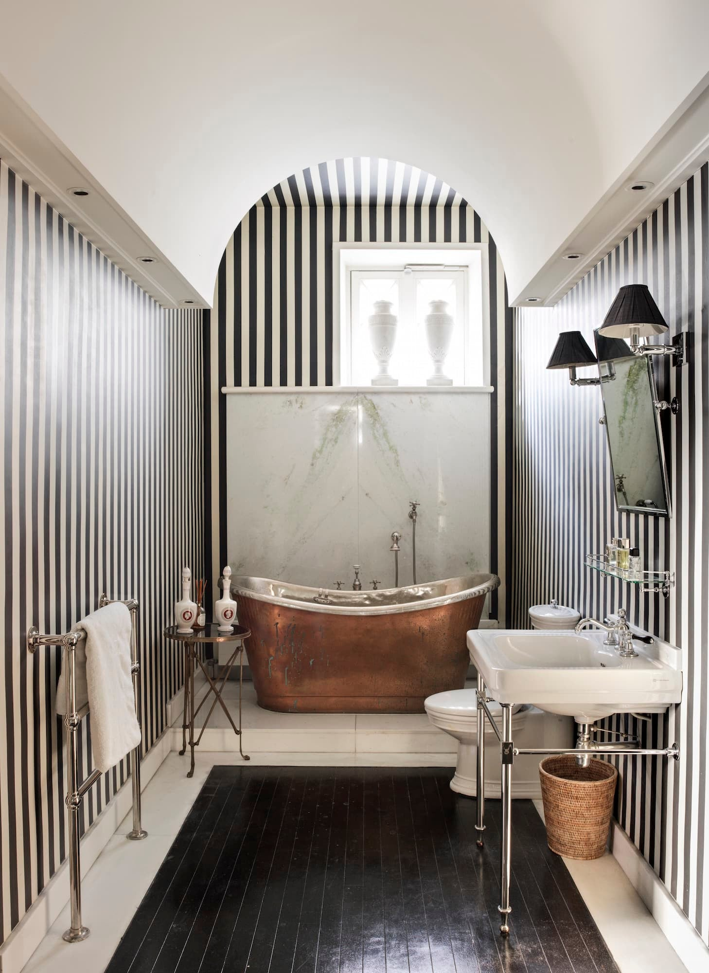 Striped master bathroom in Jamie Creel's Paris apartment