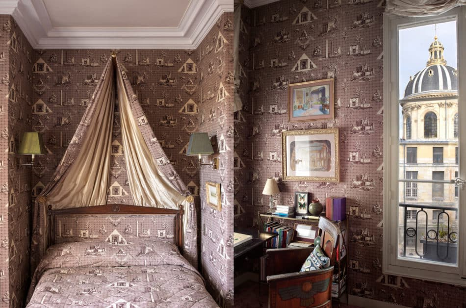 guest bedroom in Jamie Creel's Paris apartment
