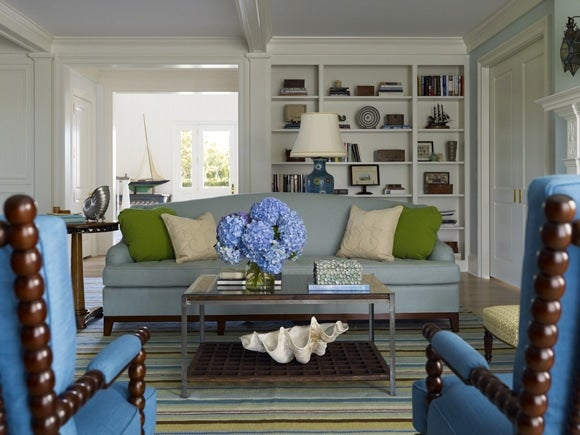 Linen Upholstered Furniture In Solid, Beachy Colors Imbues This Katie  Ridderu2013designed Nantucket Living Room With An Appropriately Coastal Feel.