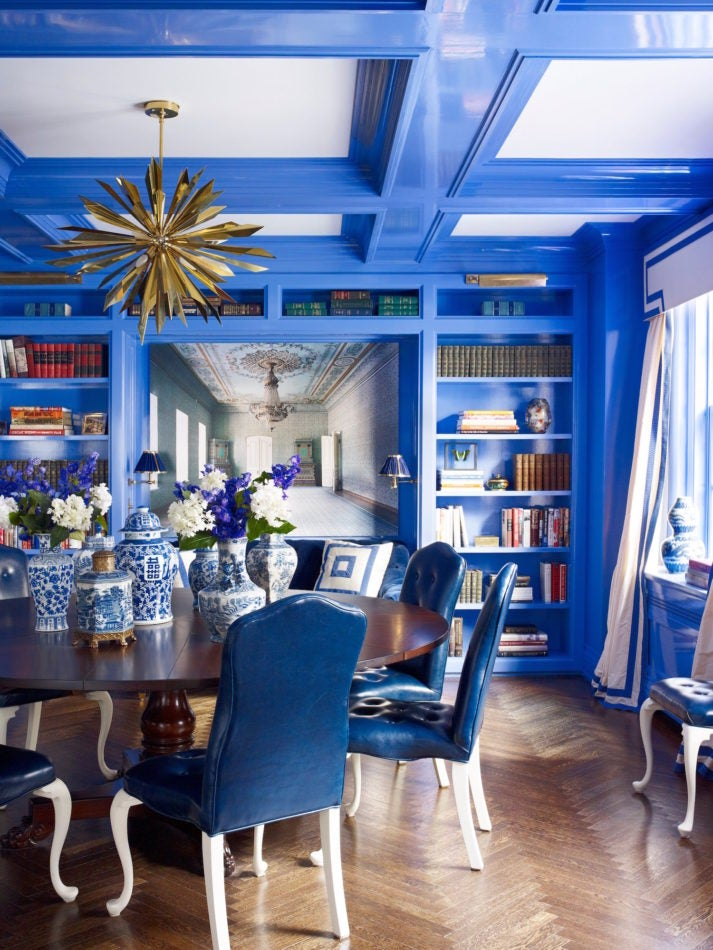 blue and white dining room by Kemble Interiors