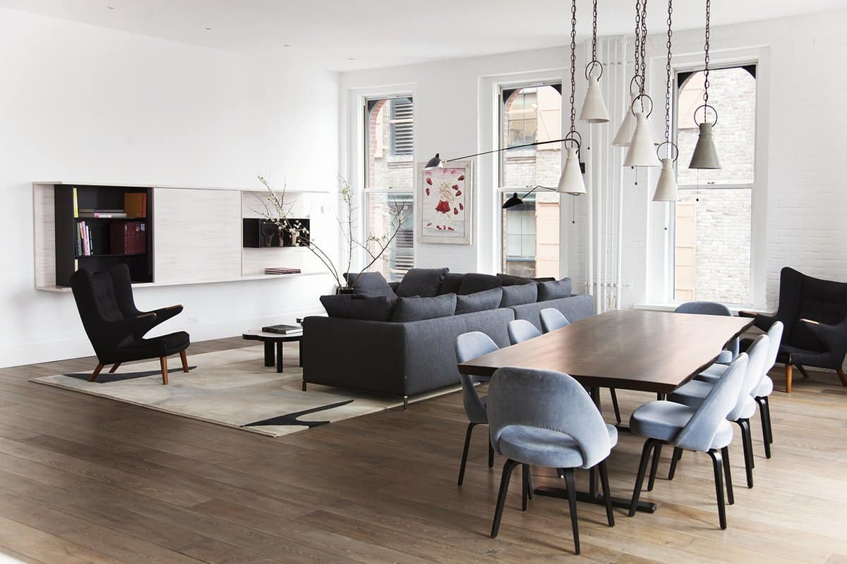 Soho loft living and dining area