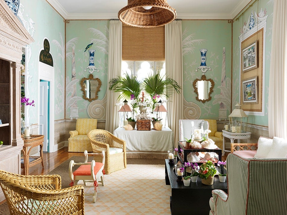 The Living Room Of Amanda Lindroth S Palm Beach Home Is Covered In Trompe L Oeil Rendered By British Artist Aldous Bertram And Furnished With Rattan
