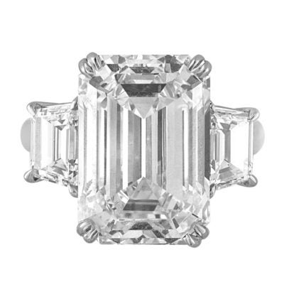 A 13-carat GIA-certified Emerald cut diamond offered by Designs MJS.
